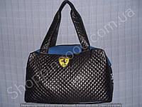 Женская сумка Ferrari 013633 черная с синим из искусственной кожи и текстиль