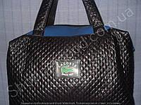 Женская сумка Lacoste 013636 черная с синим из искусственной кожи и текстиль