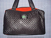 Женская сумка Lacoste 013637 спортивная черная с красным из искусственной кожи и ткани