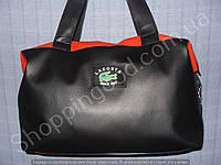 Женская сумка Lacoste 013639 спортивная черная с красным гладкая искуственная кожа