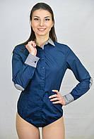Блуза боди комбинированная синего цвета
