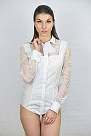 Кружевная белая женсккая блуза боди