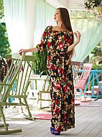 Длинное женское черное платье в пол с цветами