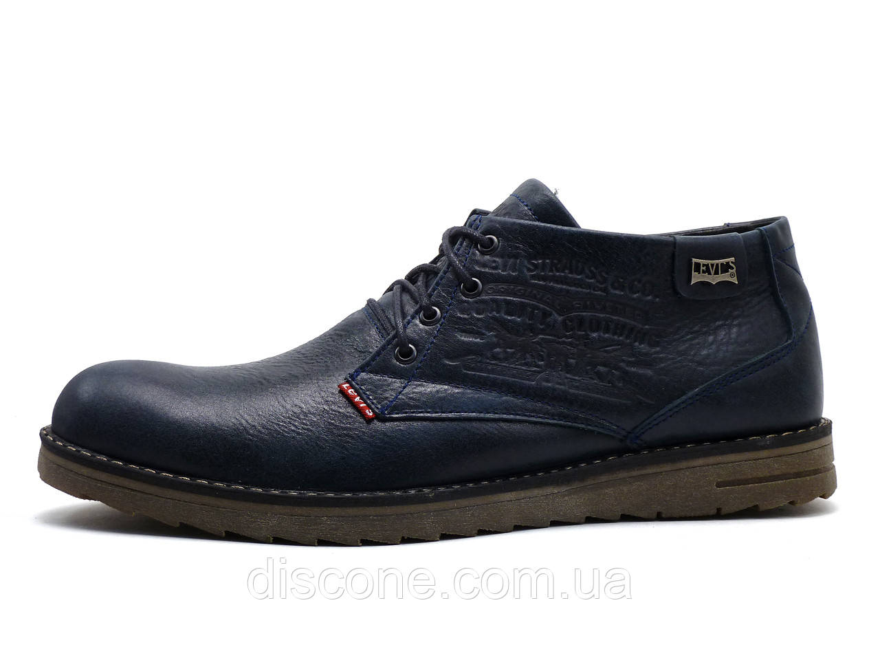 Ботинки Levi's, мужские, натуральная кожа, на меху, темно-синие