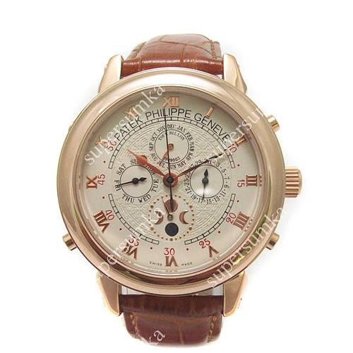 Модные наручные часы Patek Philippe Sky Moon Brown/Gold/White 1921