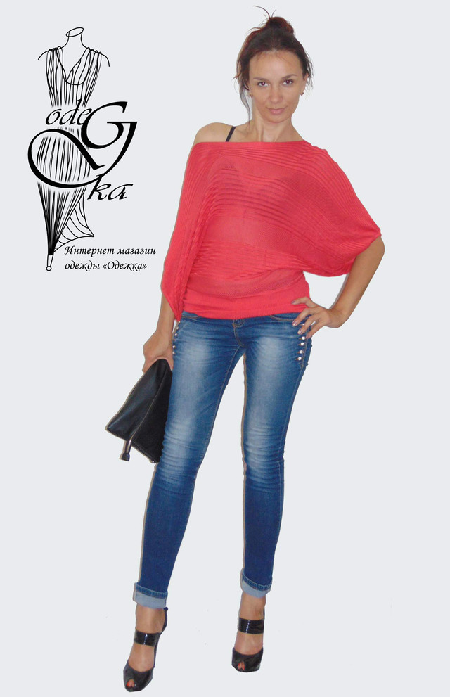 """Фото-1 Женского модного свитера с рукавом """"летучая мышь"""" Бритни SvBr415"""
