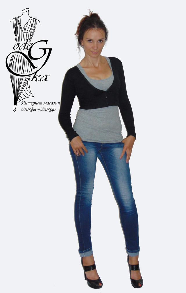Фото Кофты женской балеро с длинным рукавом на пуговках Кити SvBr379