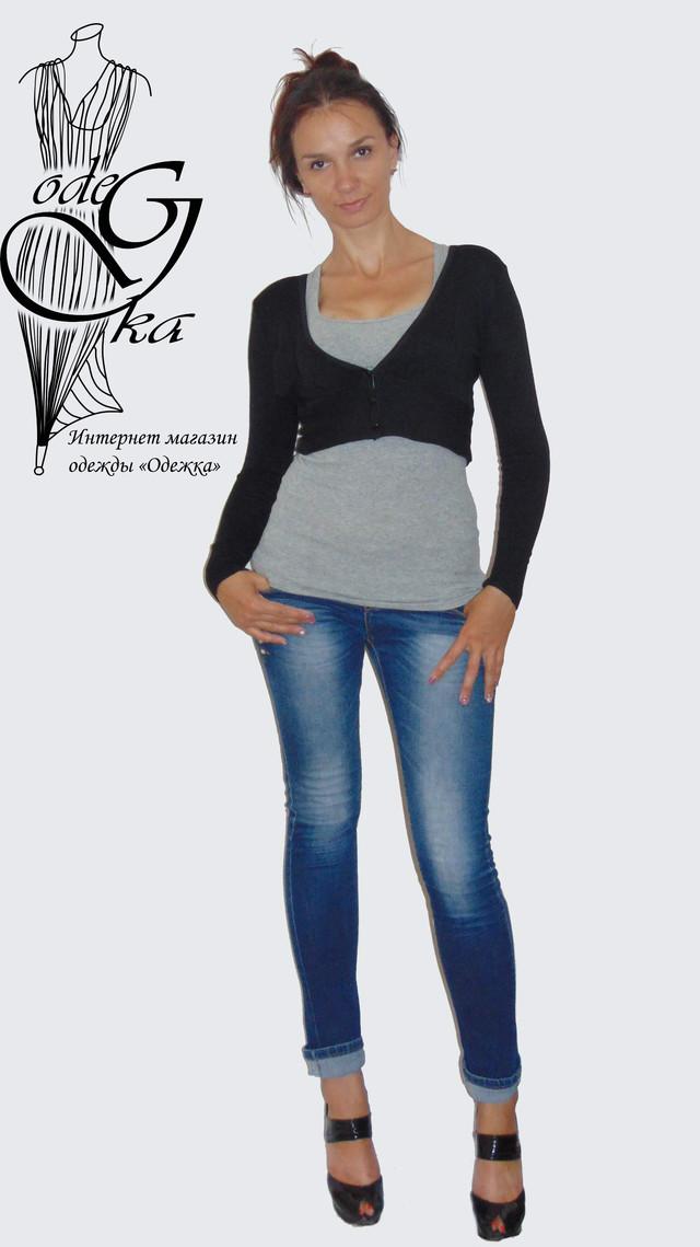 Фото-1 Кофты женской балеро с длинным рукавом на пуговках Кити SvBr379