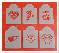 Ангелы и сердца Набор трафаретов для украшения тортов,пряников,пирожных,печенья