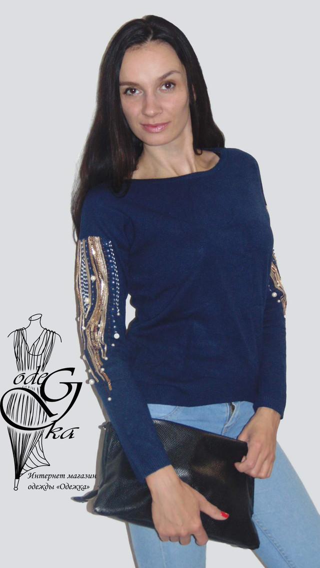 Фото Женских свитеров оптом и в розницу с роскошной вышивкой на рукавах Линда SvLd0541