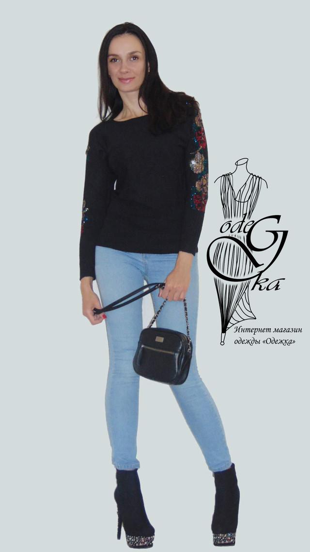 Фото-2 Женского свитера черного цвета с розой на цельнокроеном рукаве кашемировый Роза SvRz781