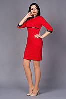 Платье с карманами в швах рельефов красного цвета
