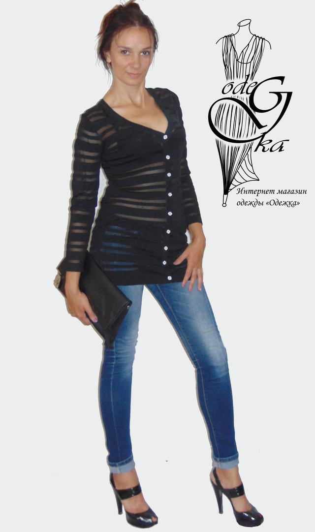 Фото-2 Женского кардигана из трикотажного шифона в полоску Триша SvTr150