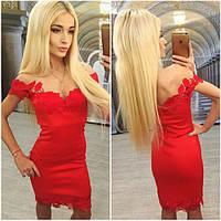 Красивое вечернее платье с кружевными вставками (в расцветках) n-3103938