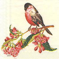 Салфетки декупажные Птица на цветущей ветке 377 (пачка 20)