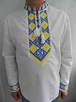 Вышиванка мужская льняная в сине - желтых цветах.