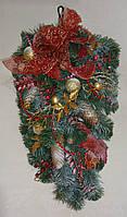 Новогодний декор - ветка подвесная большая красно-золотая