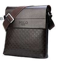 Сумка мужская деловая черная Поло через плечо, эко кожа+композит