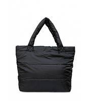 Сумка женская дутая POOLPARTY Big Eco Bags с горизонтальной строчкой чёрная