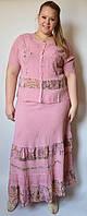 Костюм женский (блузка с юбкой) розовый, на 48-56 размеры