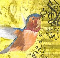 Салфетка декупажная Птица и ноты 3248
