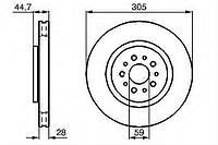 Диск тормозной передний D 305мм Fiat Doblo 2009--