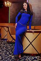 Платье вечернее Синее с гипюром