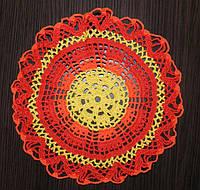 Салфетка, D 26 cm, красное солнце, вязаная крючком, ручная работа. Оригинальный подарок женщине на 8 марта