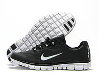 Кроссовки мужские Nike Free Run 3.0 черные с белым значком (найк фри ран)