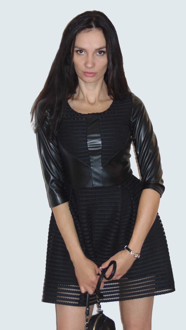 Фото Платья короткого с пышной юбкой черное с кожаными вставками Фелиция