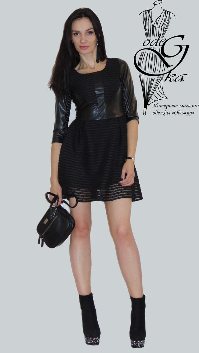 Фото-1 Платья короткого с пышной юбкой черное с кожаными вставками Фелиция
