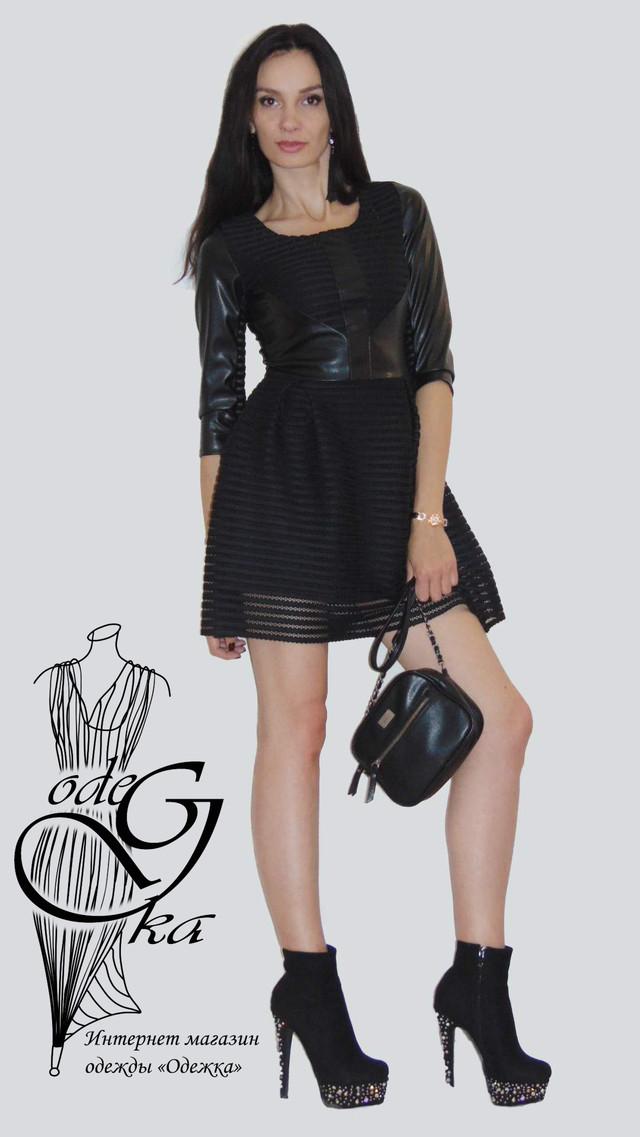 Фото-2 Платья короткого с пышной юбкой черное с кожаными вставками Фелиция