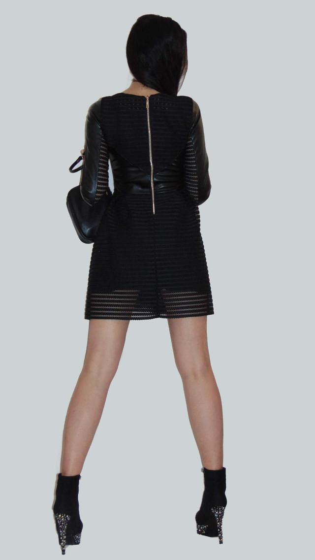 Фото-3 Платья короткого с пышной юбкой черное с кожаными вставками Фелиция