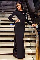 Платье вечернее длинное Черное с пайетками