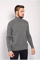 Теплый свитер с высоким воротником стойкой Серый