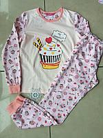 Красивая трикотажная пижама для девочки подростка розовая рост 140,152