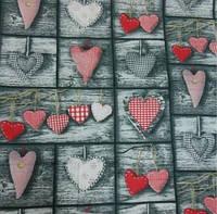 Бязь с сердцами Тильды красного цвета в стиле пэчворк (№110)