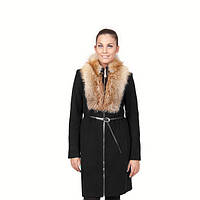 TM OZZE Пальто женское зимнее Д 150 Люкс черное с лисой OZZE