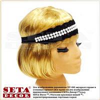 Чёрная повязка-резинка на голову с белыми бусинами в ретро стиле.