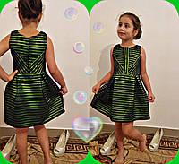 Нарядное красивое зеленое детское платье. Арт-1513
