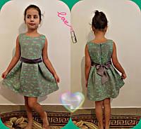 Нарядное красивое детское бирюзовое платье с пояском. Арт-1515