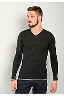 Теплый модный свитер с V-образным вырезом Графит