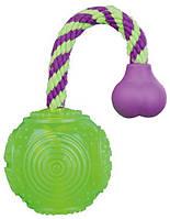 Мяч с веревкой плавающий 5,5см/23см, для собак, термопласт-резина