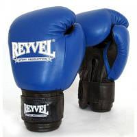 Боксерские перчатки REYVEL / Кожа синие 12унц