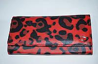 Женский кожаный кошелекк Demour W1 матовый, красный леопард