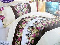 Постельное белье атласное East Comfort с цветными розочками