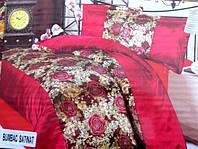 Двуспальное постельное белье атласное East Comfort красного цвета