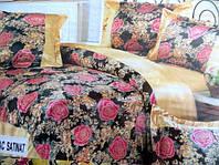 Постельное белье атласное двуспальное East Comfort на бежевом розовые розы