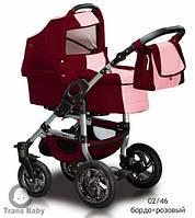 Коляска универсальная детская коляска 2 в 1 Jumper бордо роза