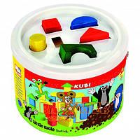 Детские кубики в ведре-сортере 30шт - Кротик